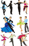 Dancing - ballroom dancers silhouettes Stock Photo