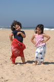 Dancing on the beach. Cute little girls dancing on the beach Royalty Free Stock Photos