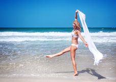 Dancing on the beach Stock Images