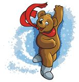 Dancing bear. Bear dancing in a whirlwind of snowflakes, vector illustration Royalty Free Stock Photos