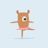 Dancing bear ballerina. Cute cartoon illustration Royalty Free Stock Photography