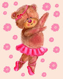 Dancing bear with flowers Royalty Free Stock Image
