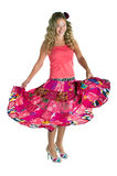 Dancing beauty girl in pink Royalty Free Stock Image