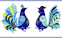 Dancing birds in the Gorodets painting style. Two dancing birds, in front of each other, with borders, all made in the Gorodets style, russian traditional Stock Images