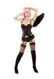 Dancing black lingerie angel with pink hair Stock Photography