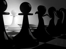 Dancing black pawns and alone white. Chess fantasy with dancing black pawns and alone white pawn in dark room. 3d render illustration Stock Photos