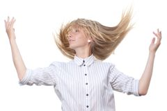 Dancing blond on white background Royalty Free Stock Images
