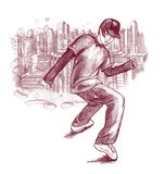 Dancing boy. Young boy dancing hip-hop on background of the modern city scape Royalty Free Stock Photography
