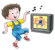 Dancing boy. A boy imitating dancing move from a television program Stock Images