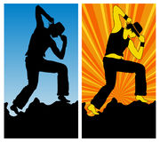 Dancing boy. Silhouette on blue and color background, vector illustration Royalty Free Stock Photos