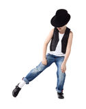 Dancing boy isolated on white Royalty Free Stock Photography