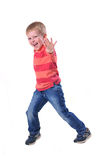 Dancing boy portrait. Isolated on white and looking at camera royalty free stock images