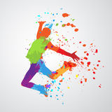 Dancing boy silhouette. The dancing boy with colorful spots and splashes on grey background. Vector illustration Stock Photography