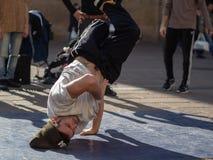 Dancing break dance in Bologna, Italy royalty free stock photo