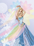 Dancing bride in beautiful dress vector illustrati Royalty Free Stock Photography