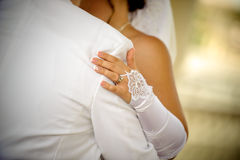 Dancing bride and groom Stock Image