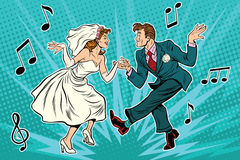 Dancing bride and groom. Pop art retro comic book illustration. Wedding dance. Twist, rock and partner dance Stock Photos