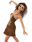 Dancing brunette girl Royalty Free Stock Photo