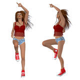 Dancing brunette girl in red top Stock Photos