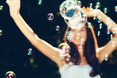 Dancing with bubbles Royalty Free Stock Photography