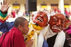 Dancing buddhists lamas Royalty Free Stock Images