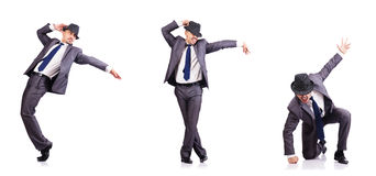 The dancing businessman isolated on white Royalty Free Stock Photography