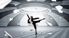 Dancing businesswoman in virtual room . Mixed media Stock Image