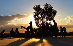 Dancing capoeira. Youth group practicing capoeira in Brazil Stock Photo