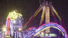 Dancing carousel. In winter park carousel rotates dancing stock footage