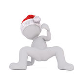 Dancing cartoon figure dances and wears santa hat Stock Images