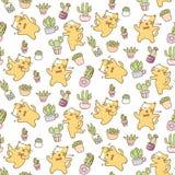 Dancing cats seamless pattern vector illustration