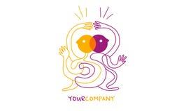 Dancing characters Yoga or Ying yang illustration logo. Modern dancing logo characters, Yoga or Ying yang illustration, vector lines personnages. Happy life royalty free illustration