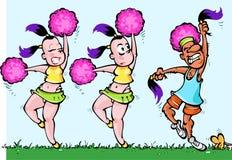 Dancing Cheerleaders Girls and one Sport Man Stock Photography