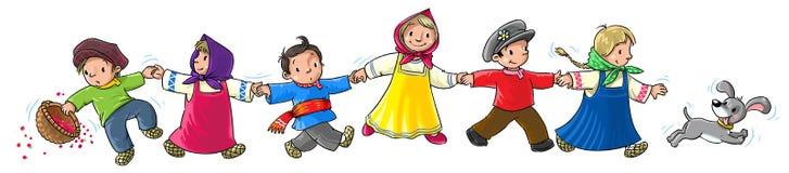 Dancing children. Children in national costume run and dance Stock Images
