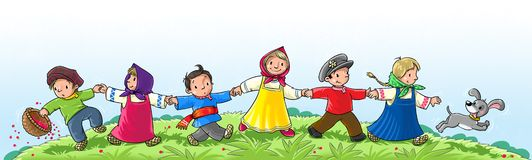Dancing children. Children in national costume run and dance Stock Photos