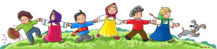 Dancing Children. Children in national costume run and dance Stock Image
