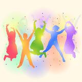 Dancing children silhouettes. Colorful silhouettes of happy children dancing and jumping at the party. Vector illustration Stock Photos