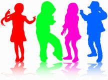 Dancing children silhouettes. Girls and boys Stock Photo