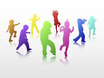 Dancing children silhouettes Royalty Free Stock Image
