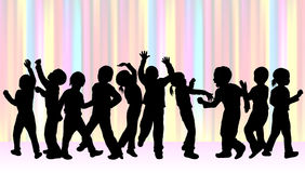 Dancing children silhouettes Royalty Free Stock Photography