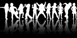 Dancing children silhouettes. Happy girls and boys Royalty Free Stock Photo