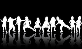 Dancing children silhouettes. Happy girls and boys Stock Photo