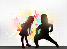 Dancing children silhouettes. Happy girls and boys Stock Image