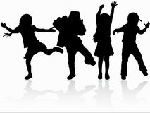 Dancing children silhouettes. Happy girls and boys Royalty Free Stock Images