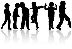 Dancing children silhouettes. Happy girls and boys Stock Photos