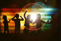 Dancing children silhouettes. Happy kids Stock Photography