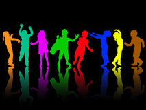 Dancing children silhouettes. Happy kids Stock Images