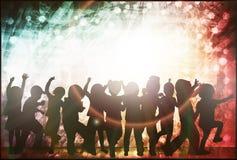Dancing children silhouettes. Happy kids Stock Image