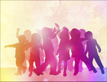 Dancing children silhouettes Royalty Free Stock Photo