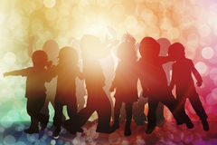 Dancing children silhouettes Stock Photography